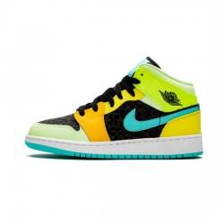 Air Jordan 1 Mid Outfit Gs Aurora Green Optic Yellow Jordan Sneakers