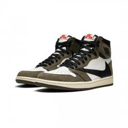 Air Jordan 1 High Outfit Travis Scott White Browm AJ1 Women Men Shoes CD4487 100