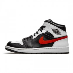 Air Jordan 1 Mid Outfit Chile Red Red White Women Men AJ1 Shoes 554724 075