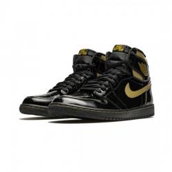 Air Jordan 1 Retro High Outfit Black Metallic Gold Men Women AJ1 Shoes 555088 032